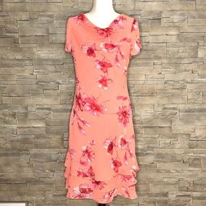 Jessica coral floral cowl-neck dress